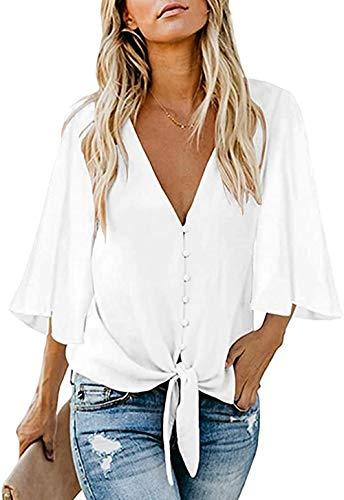 FIYOTE Oberteile Damen Bluse Elegant Hemdbluse Button Down Shirts Lose Casual Langarm Tunika Tops mit Brusttaschen weiß L