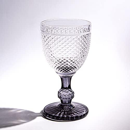 Solycarpa Pack 6 Unidades Copa Diamante de Colores de 350ml. Copa de Cristal Labrada para Decorar Eventos, Cenas, Fiestas y Todo Tipo de Celebraciones
