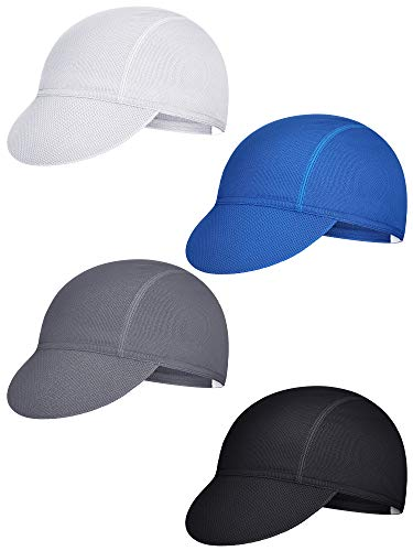 4 Pieces Summer Unisex Cycling Cap Breathable Bicycle Caps Sweat-Absorbing Biking Caps for Women Men Running Outdoor Sports (White, Grey, Black, Blue)