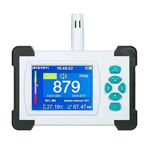 KKTECT CO2-Detektor Tragbarer Luftdetektor Ermitteln Sie die CO2-Konzentration, Temperatur und Luftfeuchtigkeit mit PDF-Datenausgabefunktion, HD-Anzeige Hochpräziser 0-9999ppm Detektor