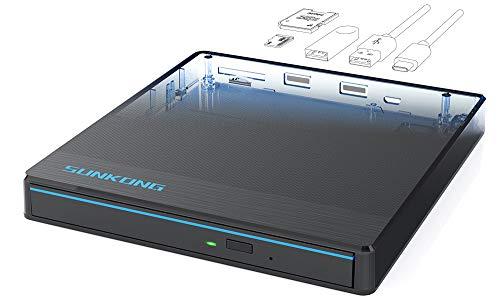 DVD Brenner, Externes CD/DVD Laufwerk USB 3.0/Type-C, SD-Karten Reader/Dockingstation/Plug&Play für alle Laptop, Desktop, iMac, MacBook, Windows 10/8/7/XP und Linux