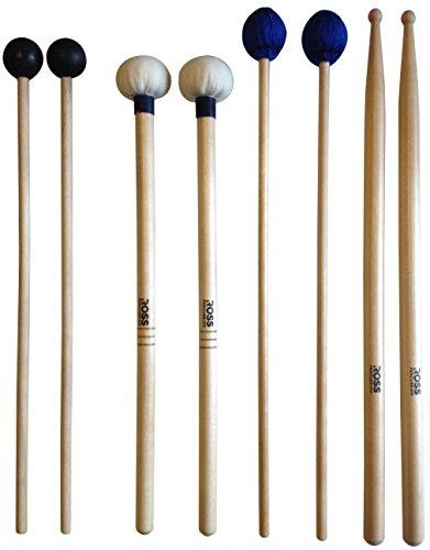 ROSS Percussion Intermediate Drum Mallet Set: General Timpani, SD2 Drumsticks, Medium Vibraphone Mallets, Xylophone Rubber Mallets
