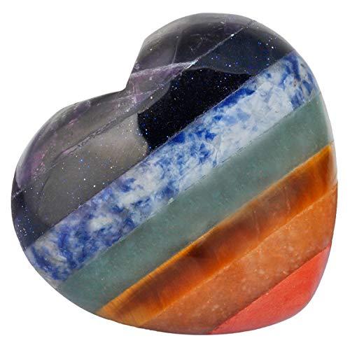 """KYEYGWO Puff Herz Heilung Kristallen Love Stone, Pocket Steine Palm Worry Stone für Reiki Meditation Balancing, Stein, 7 Chakra Stone 1.7""""-1pcs, 1.7"""""""