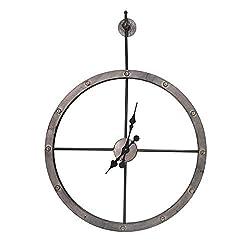 Sagebrook Home, Black, Metal Wall Clock, Window Box Pack, 31.5 x 31.5 x 4 Inches