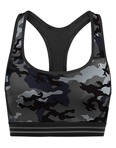 Champion Women's Absolute Workout Sports Bra Bra, Leaf camo Neutral/Black, X Large