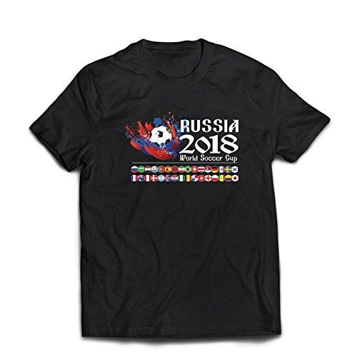 lepni.me Maglietta da Uomo Russia Coppa del Mondo di Calcio 2018, Tutte Le 32 Squadre Nazionali di Calcio (Large Nero Multicolore)