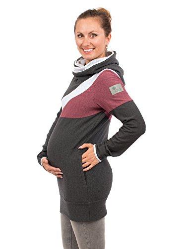 Viva la Mama Schwangerschaftspullover Umstandspullover warm Stillpulli Hoodie für Schwangere Umstandsmode - Sonic - grau/Beere - S