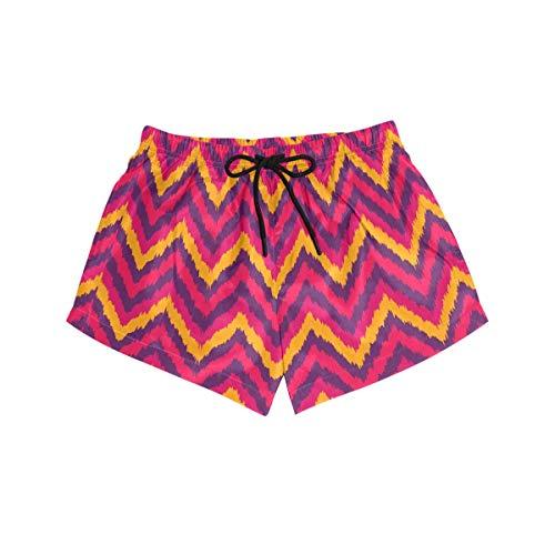 CODOYO Pantalones Cortos de natación para Mujer Amarillo Rosa Morado Zig Zags Chevron Pantalones Cortos de Playa Ropa de Playa de Secado rápido para la Playa o la natación