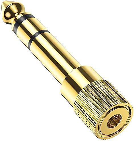 Adattatore Jack Cuffie 6,35 mm maschio a 3.5mm femmina, Stereo Placcato in Oro Jack 6,35 Maschio a 3,5 Femmina Compatibile con Cuffie, Altoparlante, Amplificatore, Mixer