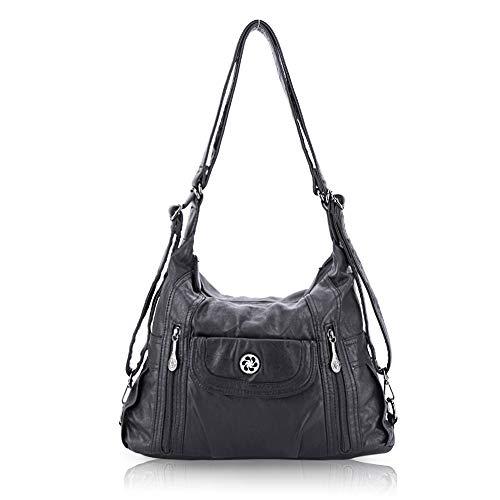 angel kiss Satchel Handbag for Women, Ultra Soft Washed Vegan Leather Crossbody Bag, Shoulder Bag, Tote Purse (ZC0118#K022#4PURPLE2) (O118-1BLACK)