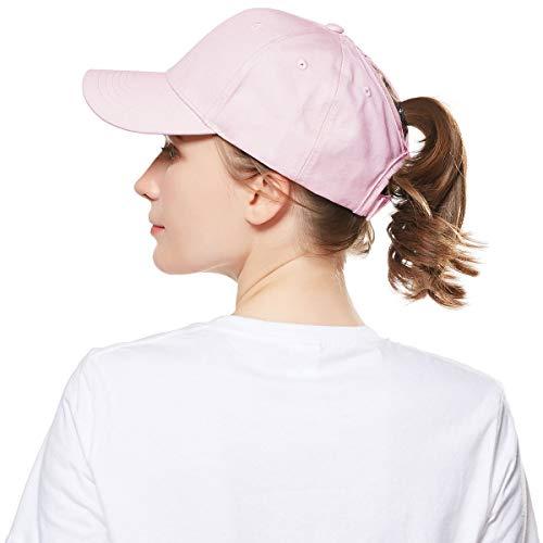 WELROG Dame Baseball Kappe Hip-Hop-Hut Verstellbar Baumwolle Pferdeschwanz (Rosa)