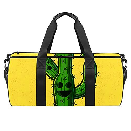 Cactus Yellow Gym Bag para hombres y mujeres Bolsas de fin de semana, bolsa de viaje con bolsillo impermeable
