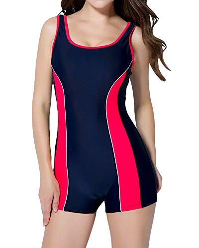 MISSMAO Damen Sportlicher Badeanzug mit Bein Boyleg Schwimmanzug Bademode mit Bein Hotpants EU 44 Blau Rot