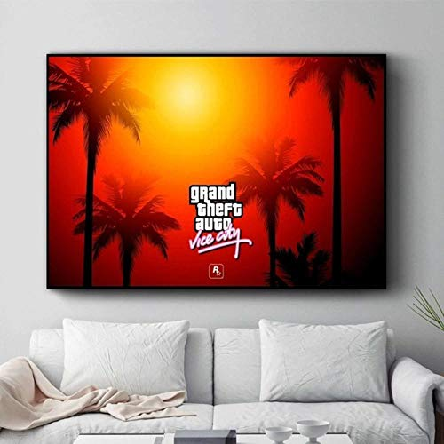 GTA Vice City Sunset Landscape Posters and Prints Canvas Painting Wall Pictures for Living Room Art Decoration Home Decor Obrazy,3,20x30Cm No Frame