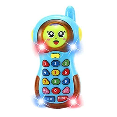 TOYMYTOY Teléfono móvil de la música 3D que cambia el teléfono celular de la historieta Teléfono de la música de la historieta que aprende los juguetes educativos para el niño del bebé (azul)