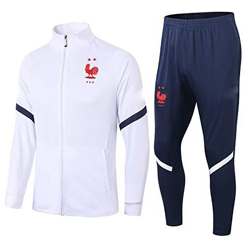 PARTAS Jacke voller Hülsen Frankreich Trainingsanzug 2 Stück Sets Tracksuits Football Wear Verein Uniform Frankreich Wettbewerb Anzug (Size : S)
