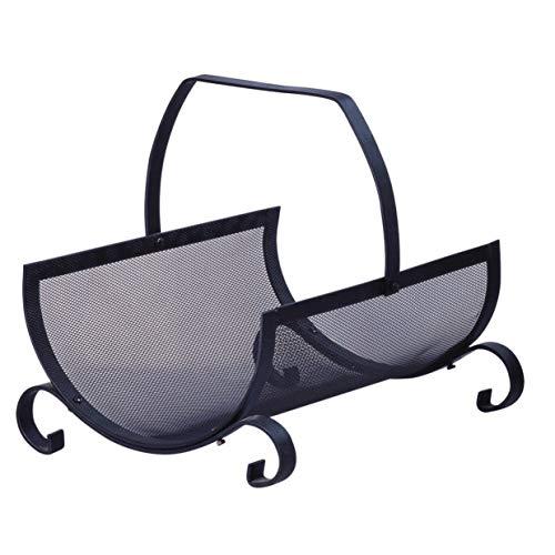 Metrox 99101 Houten mand Windsor (houten tas zwart staal, haardhoutmand, met handvat, afmetingen 37,5 x 33 x 38 cm)