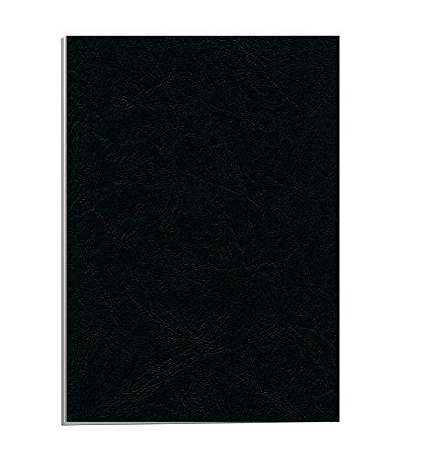 Fellowes Portadas para encuadernar de cartón símil piel Delta Cuero, extra rígido, 250 micras, 100% reciclables, formato A4, con certificación FSC, pack de 25, color negro