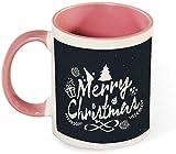 Divertida taza de café de cerámica - Feliz árbol de Navidad y regalo con patrón de ilustración de invierno para hombres / mujeres / cumpleaños / vasos de Navidad tazas-rosa-patrón3