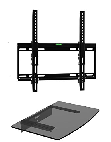 Mount Plus 322STEDV Ultra Low Profile LCD LED Plasma TV Tilt Wall Mount with One Glass Shelf of Cable Box DVD Player Stereo Components for Most 26' to 46' (VESA 100x100 200x100 200x200 300x300 400x200 400x300, 400x400) LCD LCD of SONY Samsung Vizio Toshiba Panasonic Sharp RCA Dynex Element Emerson Haier Hitachi Olevia Sanyo Magnavox Mitsubishi Zenith Westinghouse Insignia Proscan