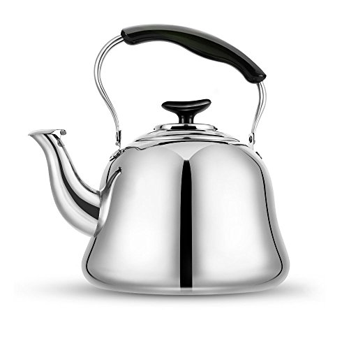 Tea Kettle Stovetop Teapot 2 Liter Stainless Steel Hot Water Kettle Whistling Mirror FinshFolding HandleFast To Boil Whistling Teakettles