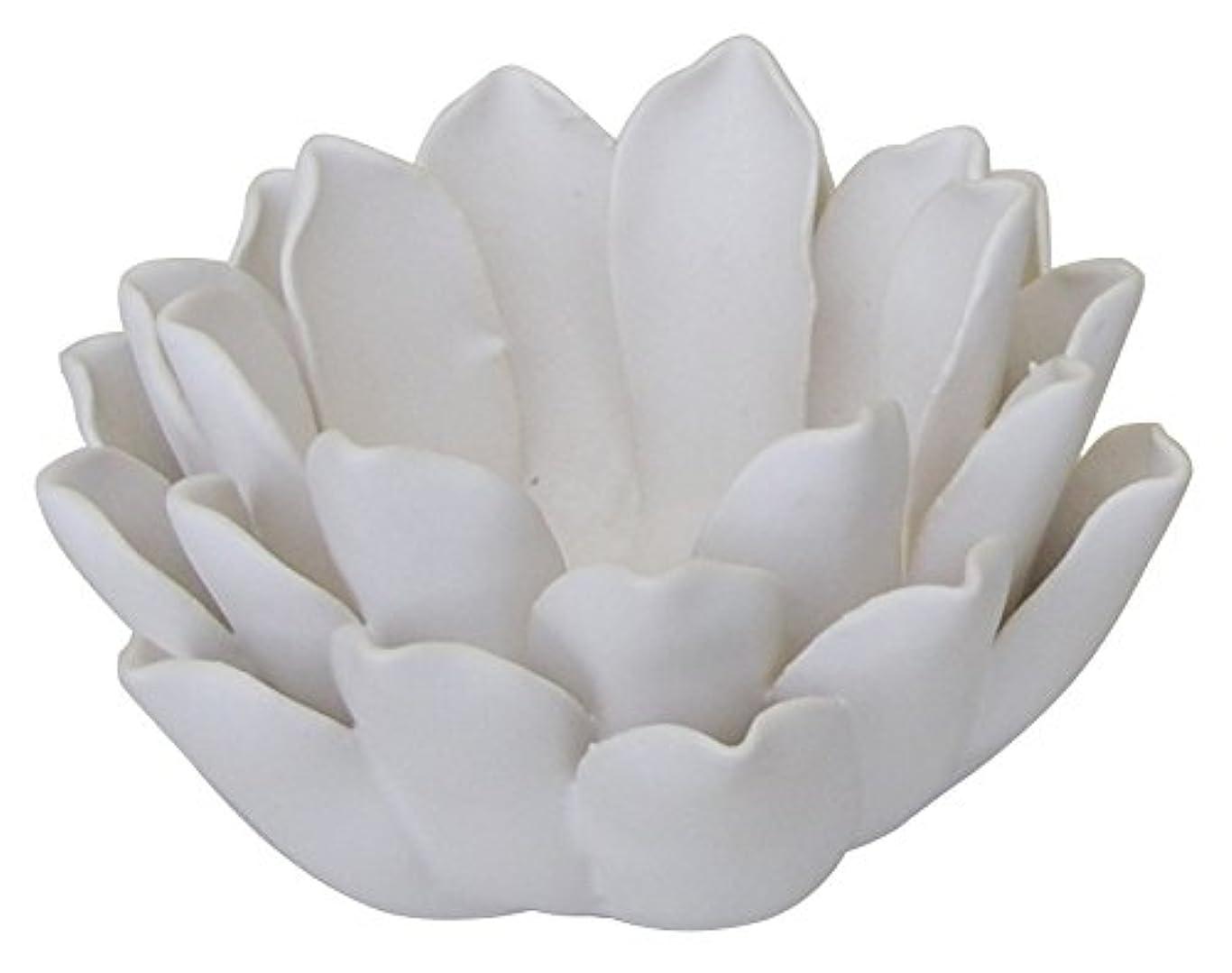 昆虫風邪をひく評価するマルエス 燭台 陶器製 ロータス 小 ホワイト