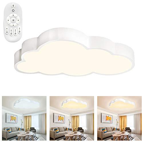 Froadp 48W Wolken Deckenleuchte LED Ultradünne Dimmbar mit Fernbedienung Jungen Und Mädchen Cartoon Lampe 500×280×53mm Deckenlampe für Kindergarten Küche Schlafzimmer(Dimmbar)