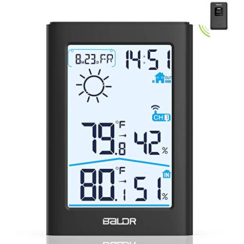 slopehill Station Météo sans Fil Intérieure Extérieure Thermomètre Hygromètre avec Capteur LED Ecran Rétroéclairage Horloge Numérique pour Alarm DateTempérature Humidité Baromètre-Noir