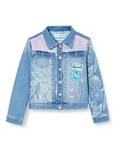 Desigual Mädchen CHAQ_CEREZAS Mantel, Blau (Jeans Vaquero 5053), 140 (Herstellergröße: 9/10)