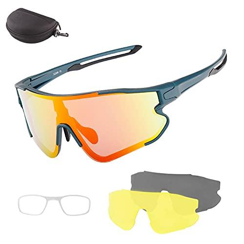 HVW Gafas De Sol De Ciclismo Polarizadas, Gafas De Sol Deportivas con 2 Lentes Intercambiables UV400 con Montura De Protección, Gafas De Ciclismo para Hombres Mujeres Ciclismo De Carretera,Verde
