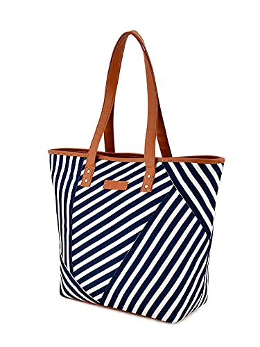 Sakwoods Women Printed Canvas Blue Tote Bag