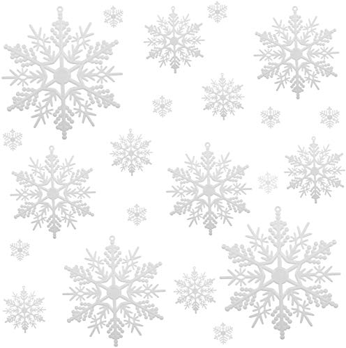 Naler 50 Pieces Assorted Sizes Plastic Snowflake Ornaments White Snowflake Christmas Decorative Hanging Ornaments for Christmas, 1/2/3/4/5/6 Inch