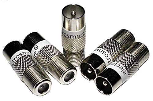 electrosmart Pack of 5 F Socket Female to Male Coax Plug Adaptors - F Female Connector to RF Coax Aerial Male Convertor