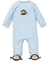 Little Me Baby-Boys Newborn Monkey Star Footie, Light Blue, Preemie