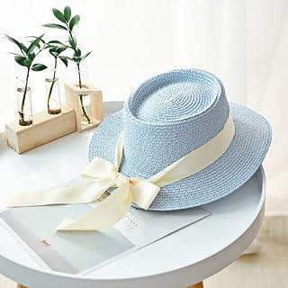EDCA New Summer Sun Hats Women Fashion Girl Straw Hat Ribbon Bow Beach Hat Casual Straw Flat Top Panama Hat Bone (Color : Light blue)