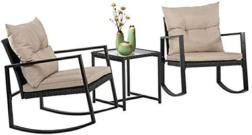 Best FDW Wicker Patio Furniture Sets Outdoor Bistro Set Rocking Chair 3 Piece Patio Set Rattan Chair Conv