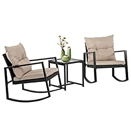 FDW Wicker Patio Furniture Sets Outdoor Bistro Set Rocking Chair 3 Piece Patio Set Rattan Chair Conversation Set for… 1 ✿【EASY ASSEMBLY】: This Outdoor Furniture Set Comes With All Hardware & Necessary Tools. Follow The Instruction, You Can Easily And Quickly Assemble The Patio Sofa Set.NOTE: When you try to install the Patio Furniture Set, try to line the hole together in all side, do not over tight one hole, then try to tight it slowly in each side. Outdoor Patio Furniture Set Wicker Furniture Set Wicker Sofa Set Outdoor Conversation Set ✿【HUMANIZED DESIGN】:Thickly Cushioned Wicker Patio Sofa Set Chairs For Maximum Comfort, Patio Outdoor Sofa Gives You a Excellent Seating Experience.Our Garden Outdoor Conversation Set have strong feet to protect your floor and increase the stability of your furniture.This outdoor furniture set can be used in the courtyard, backyard, porch, garden, poolside, balcony. Wicker Furniture Set Patio Furniture Set Wicker Sofa Set Outdoor Patio Wicker Sofa Furniture Set ✿【STRONG AND STURDY】:This patio furniture set is made with a powder-coated steel frame and all-weather PE rattan wicker for a comfortable experience.The wicker of the Outdoor furniture set is sturdy but also very light. The seat cushion of this patio Conversation Set can be removed for easy cleaning. Wicker Sofa Set Outdoor Garden Conversation Set Patio Wicker Sofa Furniture Set