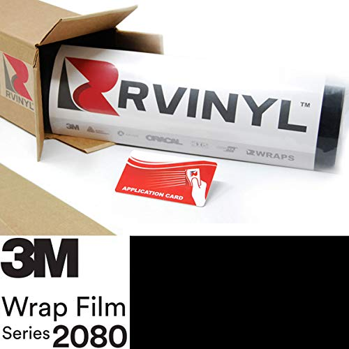 3M 2080 G12 Gloss Black 5ft x 1ft W/Application Card Vinyl Vehicle Car Wrap Film Sheet Roll