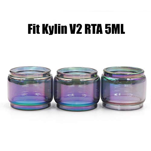 CENGLORY 3PCS Replacement Kylin V2 RTA 5ML Bulb Glass Tube Bulb Glass Tubing Home Decoration (Rainbow)