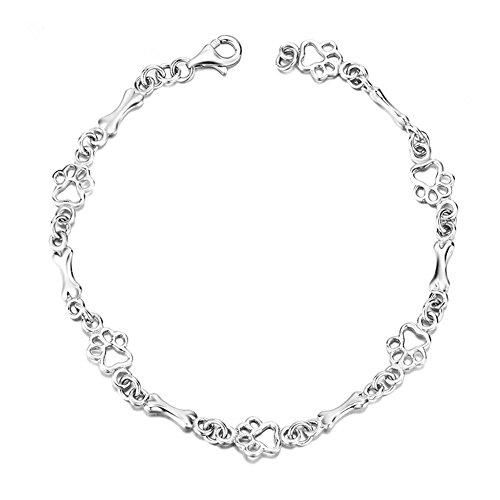 925 Sterling Silver Dog Bone and Paw Print Link Charm Bracelet for Dog Lover LSCB20