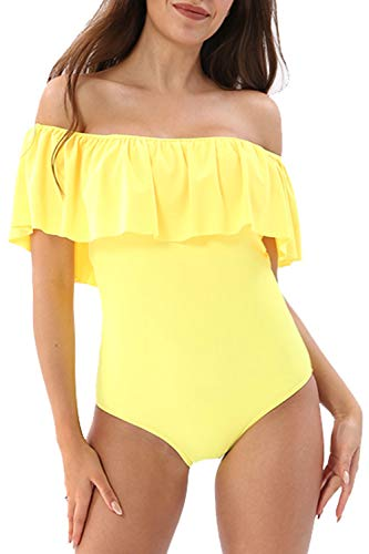 YOLIPULI Womens Flounce Off-Shoulder One-Piece Swimsuits : Solid Color Swimwear Ruffles Beach Bathing Suit (XXX-Large, Yellow)