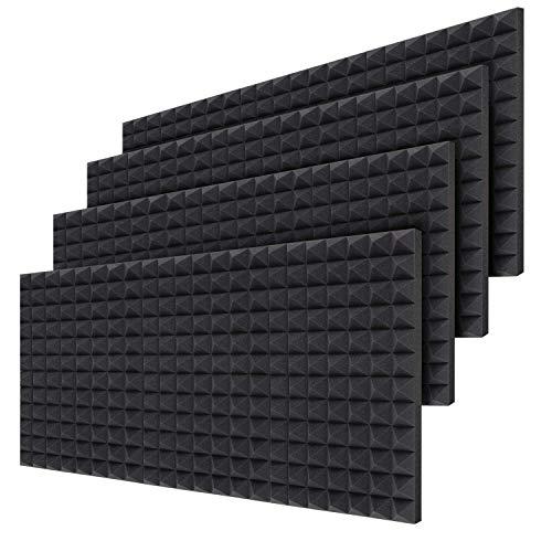 Ohuhu Insonorización Pirámide Espuma Absorción Aislamiento Acústica Paneles, Espuma acústica Pack de 24 planchas de alta calidad, Dimensiones 40,5 x 30,5 x 5 cm