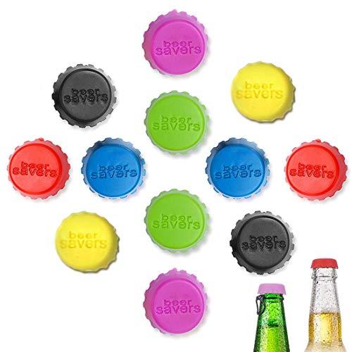 MELARQT Flaschenverschluss, Flaschenkapsel, Silikon Kronkorken wiederverwendbar, Umweltfreundlicher Stöpsel aus Silicon, für Bier, Glasflaschen, Gewürzflaschen, Wein– und Saftflasche - 12 Stücke