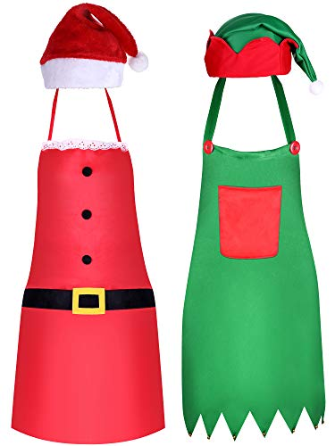 Syhood 4 Pieces Christmas Apron and Hat Set, Include Christmas Elf Apron and Elf Hat, Santa Claus Apron and Red Christmas Santa Hat for Christmas Party Costume Supplies