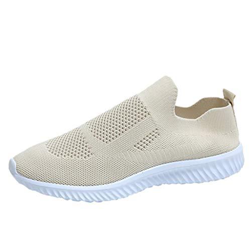 Zapatillas de Deporte Running para Mujer Zapatos para Correr Gimnasio Sneakers Casual Transpirable Beige Azul Rosa 37-43EU 0204