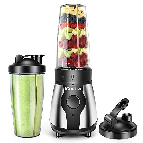 iCucina Personal Portable Bullet Blender 300 watt for shakes and smoothies  Easy Clean Shake Blender with One-Button Operation  28 Ounce Blender Cups with To-Go Lids