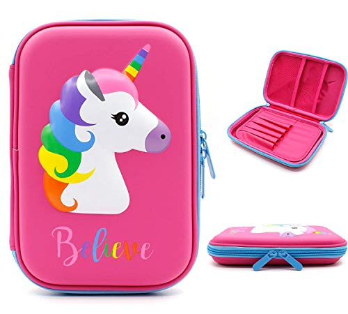 Unicorn Pencil Case for Girls Kids Large Capacity Hardtop Pen Holder Box with Compartments – Bright Colored Stationary Organizer School Zipper Pouch