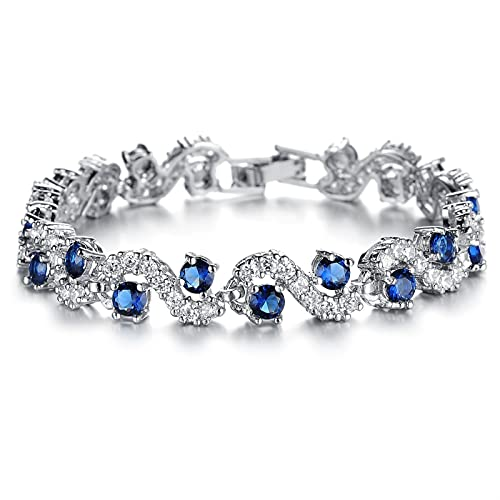 Bianlang Pulsera de Moda de Moda, Pulsera Exquisita de Diamantes Intermitentes, AAA Pulsera de Zircon Chapado en Rodio, Joyería ( Color : Blue Diamond Length 19cm )