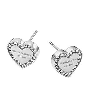 Michael Kors Silver Tone Signature Heart Stud Earrings