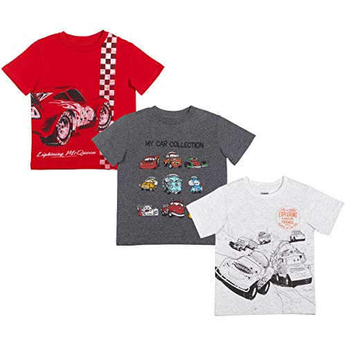 Disney Pixar Cars Toddler Boys 3 Pack Short Sleeve T-Shirt Gray/Red 3T